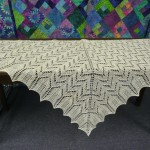"This gorgeous shawl was knitted by Deborah Vogl with Crystal Palace ""Creme"""