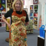 Cool reversible apron (pattern by Mary Mulari) made by Anna Tyler for the 2011 Teal Soiree silent auction to benefit ovarian cancer