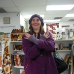 Sandra showing off her fingerless gloves crocheted with Jo Sharp Silkroad Tweed!