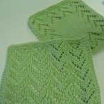 Washcloths knitted by Deborah Vogl with Cascade Pima Tencel. Super soft natural yarn that machine washes and dries beautifully!