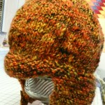 Sally's hunter's cap knitted with Rio de la Plata...pre felting!