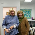 """Friends""  Robin is wearing a beautiful shawl collar cowl knitter for her by Londa.  Londa used Brown Sheep's Handpaint plus Lana Grossa kid mohair."