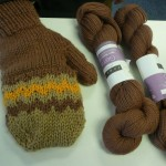 Modenna LaBaugh used Louet Gems fingering weight to knit these cool 1/2 finger gloves/mitten!