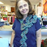 Carolyn Clasen crocheted this fantastic Queen Anne's Lace scarf with Noro Ouchou!