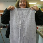 "Marcia Hall crocheted this beautiful ""Seaside Blouse"" An Oat Couture pattern, with Christal Palace Yarns ""Creme"" - in lilac"