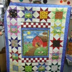 Karli Baker surrounded this cute barn panel with sawtooth stars to make an incredible quilt - to be donated to a domestic violence shelter in South Dakota!