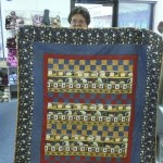 Penny Schaff found the panel and all of the fabric for this fun snowman quilt at Wooden Spools!  Nice job, Penny!