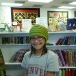 Karen Williams whipped up her own hat design using Lanaloft worsted wt. yarn from Brown Sheep Company.  Love that color!
