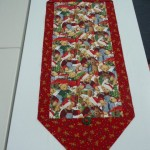 "Karen Williamson made this ""10-Minute Table Runner"" with Teddy Bear Fabric during our Christmas Sew-in day."