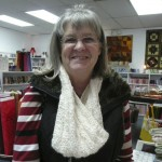 Sandy Bardi is wearing the gorgeous cowl that she knitted with Skacel's Alpaca Seta...it's beautiful!