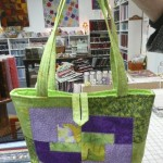"Another of our favorite ""bag ladies"", Barbara Snyder made this ""Carmel"" tote bag.  So bright and perfect for Spring!"