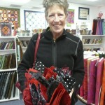 "More napkins made by Mary Wilke, this time a ""Bouquet of Napkins"" in red and black for a friend's wedding dinner!"