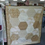 The other hexagon pattern sympathy quilt that Brenna made is gorgeous in these soft tan, beige and gold colors....