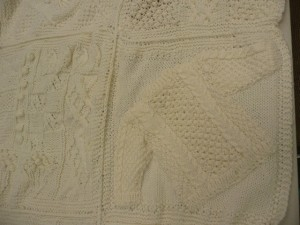 A peek at Marilyn's completed afghan - it's gorgeous in all winter white!